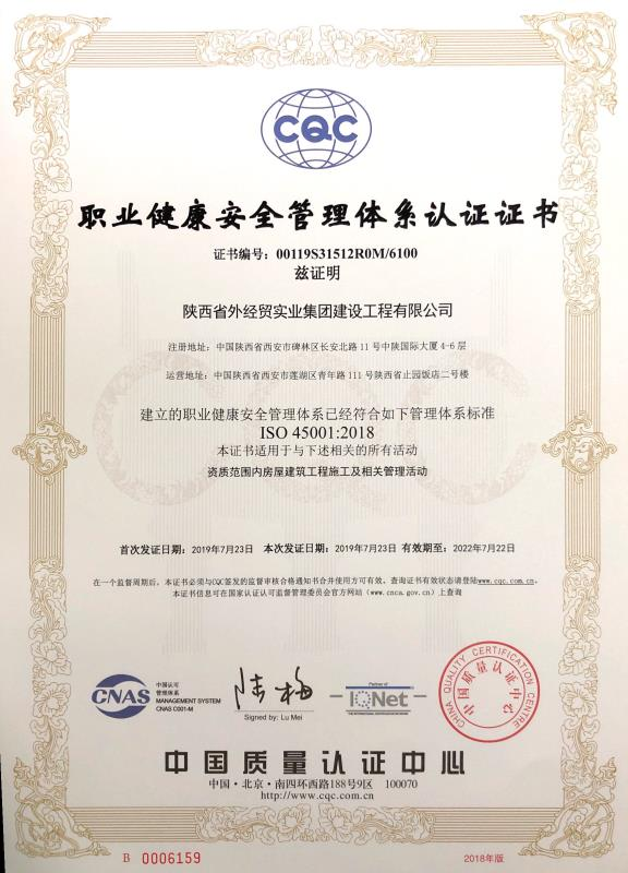 陕raybet雷电竞建设公司职业健康安全管理体系认证证书